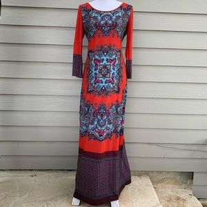 Dream Daily Anthropologie Maxi Red Medallion Dress